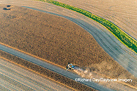 63801-13111 Harvesting corn in fall-aerial  Marion Co. IL