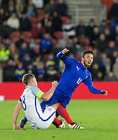 James Ward-Prowse (Southampton) of England & Federico Di Francesco (Bologna) of Italy clash during the Under 21 International Friendly match between England and Italy at St Mary's Stadium, Southampton, England on 10 November 2016. Photo by Andy Rowland.