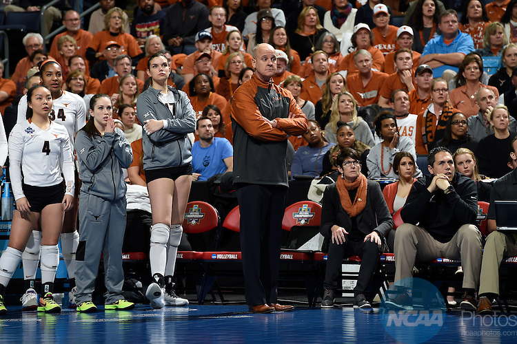 COLUMBUS, OH - DECEMBER 17:  Head Coach Merritt Elliott of the University of Texas looks on against Stanford University during the Division I Women's Volleyball Championship held at Nationwide Arena on December 17, 2016 in Columbus, Ohio.  Stanford defeated Texas 3-1 to win the national title. (Photo by Jamie Schwaberow/NCAA Photos via Getty Images)