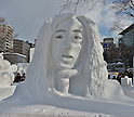 €A snow sculpture of 'Japanese comedian Naoki Matayoshi' is seen at Odori Park in Sapporo, Hokkaido, Japan on February 5, 2016. (Photo by AFLO)