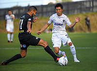 Mario Barcia (left) and Takuya Iwata during the Oceania Football Championship final (second leg) football match between Team Wellington and Auckland City FC at David Farrington Park in Wellington, New Zealand on Sunday, 7 May 2017. Photo: Dave Lintott / lintottphoto.co.nz
