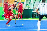 Florent van Aubel #8 of Belgium looks to pass during Argentina vs Belgium  in the men's gold medal game at the Rio 2016 Olympics at the Olympic Hockey Centre in Rio de Janeiro, Brazil.