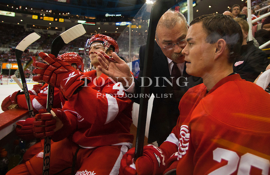 8 October 2010: Detroit Red Wings assistant coach Paul MacLean gives advice to forward Jiri Hudler (26), in the second period of the Anaheim Ducks at Detroit Red Wings NHL hockey game, at Joe Louis Arena, in Detroit, MI...***** Editorial Use Only *****