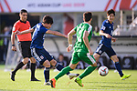 Minamino Takumi of Japan (L) in action during the AFC Asian Cup UAE 2019 Group F match between Japan (JPN) and Turkmenistan (TKM) at Al Nahyan Stadium on 09 January 2019 in Abu Dhabi, United Arab Emirates. Photo by Marcio Rodrigo Machado / Power Sport Images