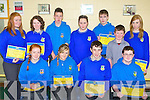 Talented students who was honored at the Castleisland Community College awards on Thursday front row l-r: Erin O'Connor, Chloe Kelleher, Daniel McCarthy, Cian Brosnan. Back row: Seorcha O'Connor, Aoife O'Leary, Cian Lonergan, Lisa Browne, James O'Connor, Daniel Cronin and Amy Reidy..