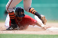 GCL Red Sox designated hitter Brandon Howlett (5) slides back into first base in front of Juan Montes (9) during a game against the GCL Orioles on August 9, 2018 at JetBlue Park in Fort Myers, Florida.  GCL Red Sox defeated GCL Orioles 10-4.  (Mike Janes/Four Seam Images)