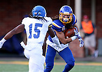 BROOKINGS, SD - SEPTEMBER 10:  Connor Landberg	 #18 from South Dakota State looks to make a move against Jabari Butler #15 from Drake during their game at the Dana J. Dykhouse Stadium Saturday night in Brookings. (Photo by Dave Eggen/Inertia)