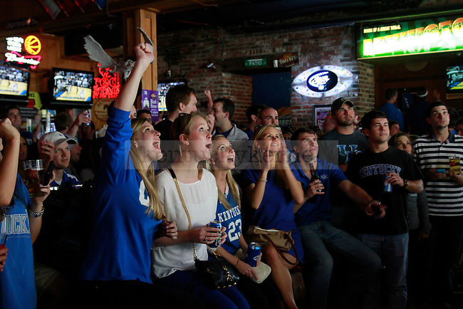 UK fans celebrate during the Elite 8 game against Baylor at Two Keys on March 25, 2012. Photo by Alex Lovan | Staff