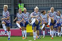 Chelsea Women warm up ahead of Chelsea Women vs Manchester City Women, FA Women's Super League FA WSL1 Football at Kingsmeadow on 9th September 2018