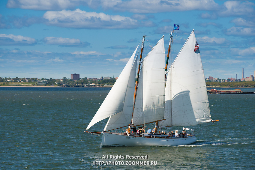 Sail boat in Hudson river near New York, USA