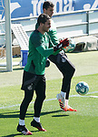 Getafe's Leandro Chichizola (l) and David Soria during training session. June 5,2020.(ALTERPHOTOS/Acero)