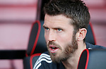 Michael Carrick of Manchester United watches the warm up from the bench during the premier league match at the Vitality Stadium, Bournemouth. Picture date 18th April 2018. Picture credit should read: David Klein/Sportimage