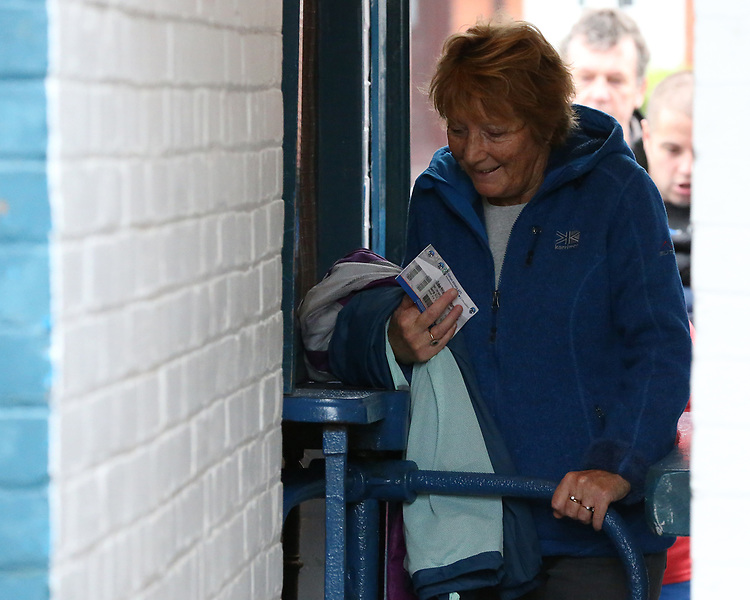A general view of Boundary Park, home of Oldham Athletic FC as fans enter through the turnstiles<br /> <br /> Photographer Stephen White/CameraSport<br /> <br /> The EFL Sky Bet League One - Oldham Athletic v Blackburn Rovers - Saturday 14th October 2017 - Boundary Park - Oldham<br /> <br /> World Copyright &copy; 2017 CameraSport. All rights reserved. 43 Linden Ave. Countesthorpe. Leicester. England. LE8 5PG - Tel: +44 (0) 116 277 4147 - admin@camerasport.com - www.camerasport.com