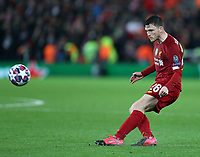 11th March 2020; Anfield, Liverpool, Merseyside, England; UEFA Champions League, Liverpool versus Atletico Madrid;  Andy Robertson of Liverpool crosses the ball unto the Atletico penalty area