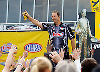 May 15, 2016; Commerce, GA, USA; NHRA pro stock driver Greg Anderson during the Southern Nationals at Atlanta Dragway. Mandatory Credit: Mark J. Rebilas-USA TODAY Sports