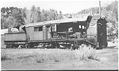 RGS rotary snowplow #2 mortally wounded by a boiler explosion at Vance Junction has been moved to Placerville.<br /> RGS  Placerville, CO  5/1949