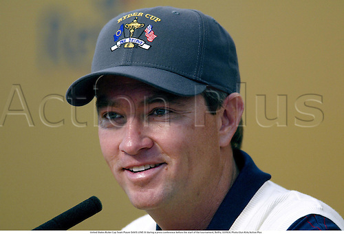 United States Ryder Cup Team Player DAVIS LOVE III during a press conference before the start of the tournament, Belfry, 020924. Photo:Glyn Kirk/Action Plus...microphone.conferences.golf golfer golfers.2002.portrait portraits.head shot headshot.usa american