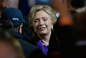 Democratic Presidential candidate Hillary Clinton greets campaign staff after delivering her concession speech Wednesday, from the New Yorker Hotel's Grand Ballroom in New York, NY, on November 9, 2016. <br /> Credit: Olivier Douliery / Pool via CNP