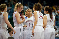 NORFOLK, VA--Senior Grace Mashore rallies her teammates against Hampton University at the Ted Constant Convocation Center at Old Dominion University in Norfolk, VA in the first round of the 2012 NCAA Championships. The Cardinal advanced with a 73-51 win to play West Virginia on Monday, March 19.