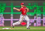 15 September 2013: Washington Nationals infielder Stephen Lombardozzi turns a double-play to end the game against the Philadelphia Phillies at Nationals Park in Washington, DC. The Nationals took the rubber match of their 3-game series 11-2 to keep their wildcard postseason hopes alive. Mandatory Credit: Ed Wolfstein Photo *** RAW (NEF) Image File Available ***