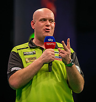 12th March 2020; M and S Bank Arena, Liverpool, Merseyside, England; Professional Darts Corporation, Unibet Premier League Liverpool; Michael van Gerwen is interviewed by Sky Sports
