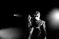 French singer Alain Bashung in concert at the Spectrum on April 9, 1987.<br /> <br /> Fle Photo : Agence Quebec Presse  - Denis Alix