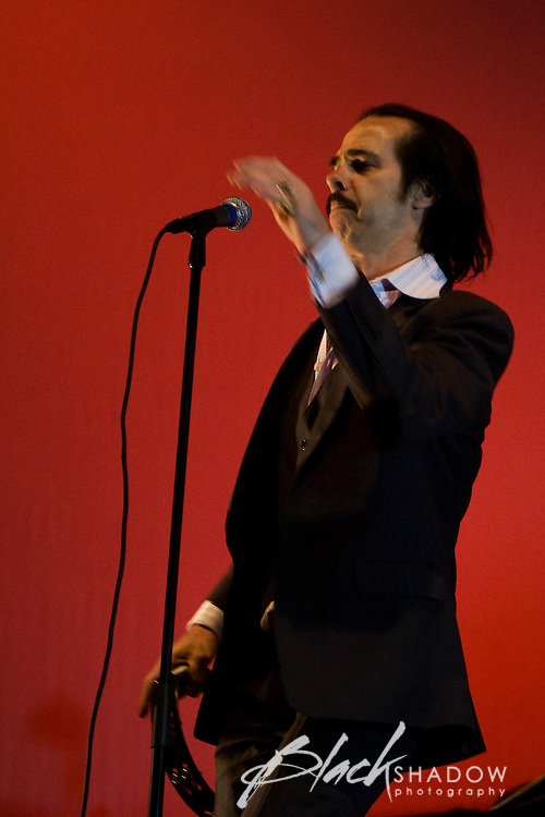 Nick Cave and The Bad Seeds playing at the inaugural Australian All Tomorrows Parties festival at Mt Buller, 10 January 2009