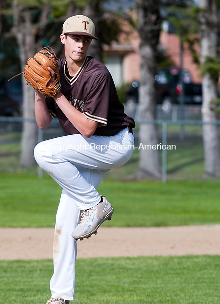 WINSTED,  CT-051217JS10- Thomaston's Drew Colavecchio  (1) delivers a pitch during their game against Gilbert Friday at Walker Field in Winsted. <br />   Jim Shannon Republican-American