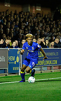 AFC Wimbledon's Lyle Taylor on the ball during the Carabao Cup match between AFC Wimbledon and Brentford at the Cherry Red Records Stadium, Kingston, England on 8 August 2017. Photo by Carlton Myrie.