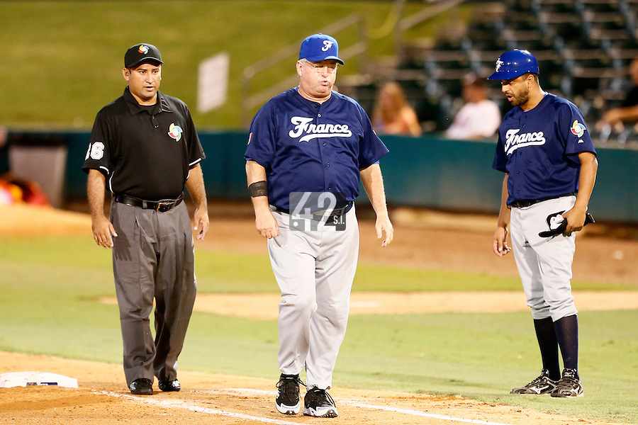 20 September 2012: Team France manager Jim Stoeckel looks dejected during Spain 8-0 win over France, at the 2012 World Baseball Classic Qualifier round, in Jupiter, Florida, USA.
