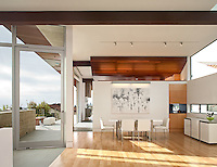 Casa 8, La Jolla. Home of the Year 2011 in San Diego Home/Garden Magazine. Designed on tightly zoned urban lot transformed to modern home. Second floor becomes main level to take in views. Energy-efficient with sustainable materials. Heather Johnston, Architect. Photographer James Brady.