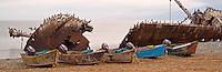 Small fishing boats and shipwreck at point San Jacinto, Baja, Mexico