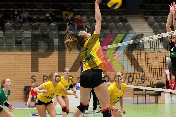 am Ball Muensters Pia Leweling <br /> <br /> 05.12.2015 Volleyball Frauen 2. Bundesliga Nord Koepenicker SC II Berlin  - USC Muenster II<br /> <br /> Foto &copy; PIX-Sportfotos *** Foto ist honorarpflichtig! *** Auf Anfrage in hoeherer Qualitaet/Aufloesung. Belegexemplar erbeten. Veroeffentlichung ausschliesslich fuer journalistisch-publizistische Zwecke. For editorial use only.