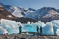 Tourists photograph stranded glacier icebergs along Harriman Fjord, northern Prince William Sound, Alaska.