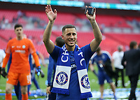 19th May 2018, Wembley Stadium, London, England; FA Cup Final football, Chelsea versus Manchester United; Eden Hazard of Chelsea waving to his family while holding his medal box