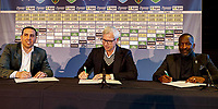 2nd January 2020, The Hague, Holland;  ADO Den Haag Managing Director Mohammed Hamdi, ADO Den Haag new coach Alan Pardew and ADO Den Haag assistant coach Chris Powell signing the contract during the presentationof new ADO coach Alan Pardew