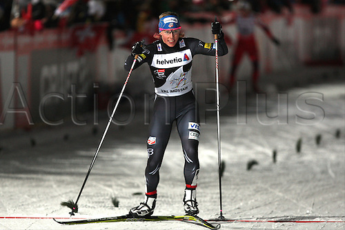 01.01.2013 Val Mustair, Switzerland. Kikkan Randall (USA) in action at the sprints finals of the Cross Country Ski World Cup -  Tour de ski - Val Mustair - Switzerland - 1.4 km Free sprint ladies