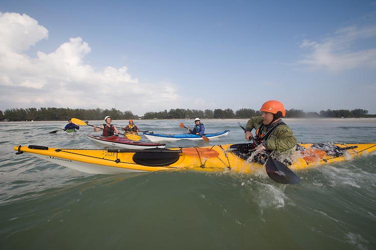 Sea kayak surfing instruction, Florida, Florida Sea Kayak Symposium, Fort Desoto Park, Gulf Coast, Gulf of Mexico,