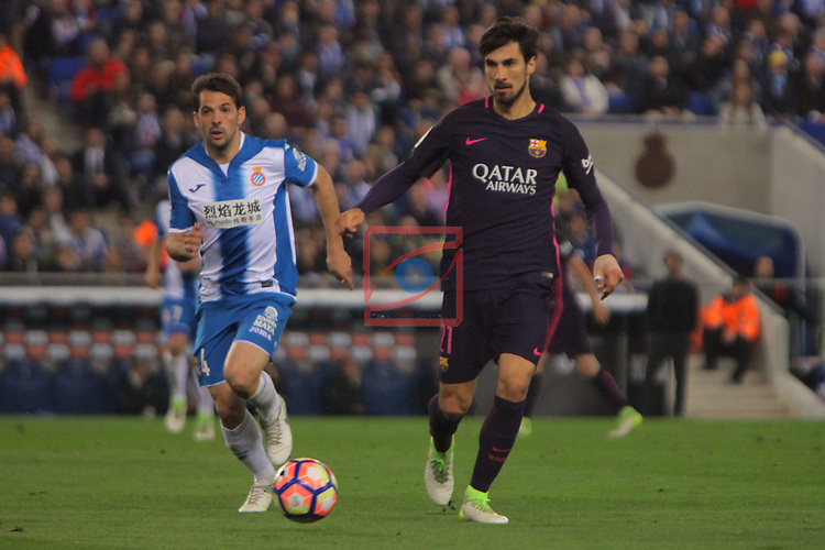 League Santander 2016/2017. Game: 35.<br /> RCD Espanyol vs FC Barcelona: 0-3.<br /> Victor Sanchez vs Andre Costa.