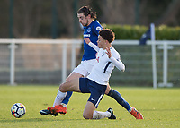 Antony Evans of Everton battles with Luke Amos of Tottenham Hotspur during the U23 - Premier League 2 match between Tottenham Hotspur U23 and Everton at Tottenham Training Ground, Hotspur Way, England on 15 January 2018. Photo by Vince  Mignott / PRiME Media Images.