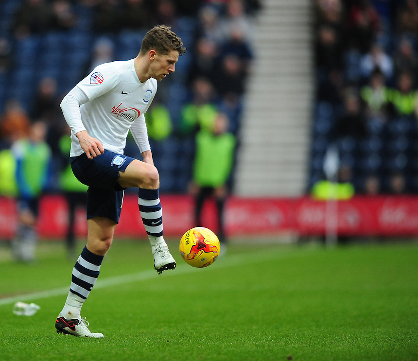 Preston North End's Calum Woods<br /> <br /> Photographer Chris Vaughan/CameraSport<br /> <br /> Football - The Football League Sky Bet Championship - Preston North End v Brentford - Saturday 23rd January 2016 -  Deepdale - Preston<br /> <br /> &copy; CameraSport - 43 Linden Ave. Countesthorpe. Leicester. England. LE8 5PG - Tel: +44 (0) 116 277 4147 - admin@camerasport.com - www.camerasport.com