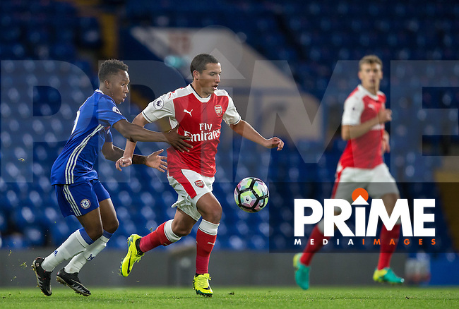 Ismael Bennacer of Arsenal & Josemar Quintero of Chelsea battle during the EPL2 - U23 - Premier League 2 match between Chelsea and Arsenal at Stamford Bridge, London, England on 23 September 2016. Photo by Andy Rowland.
