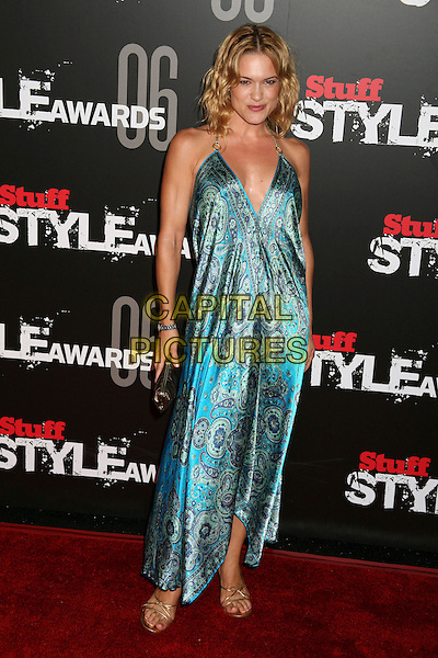 """VICTORIA PRATT.Stuff Magazine's """"Stuff Style Awards"""" at the Arclight Theatre, Hollywood, California, USA..September 27th, 2006.Ref: ADM/BP.full length blue turquoise paisley dress satin.www.capitalpictures.com.sales@capitalpictures.com.©Byron Purvis/AdMedia/Capital Pictures."""