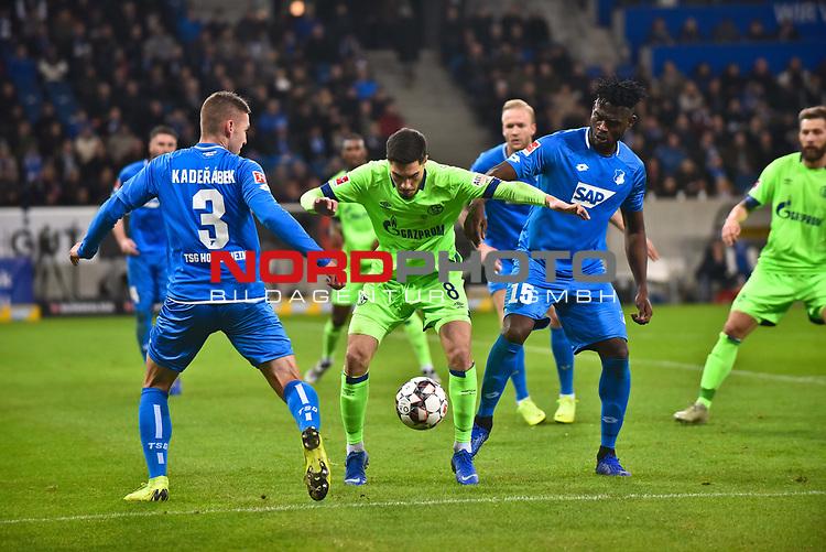01.12.2018, wirsol Rhein-Neckar-Arena, Sinsheim, GER, 1 FBL, TSG 1899 Hoffenheim vs FC Schalke 04, <br /> <br /> DFL REGULATIONS PROHIBIT ANY USE OF PHOTOGRAPHS AS IMAGE SEQUENCES AND/OR QUASI-VIDEO.<br /> <br /> im Bild: Suat Serdar (FC Schalke 04 #8) gegen Pavel Kaderabek (TSG Hoffenheim #3) und Kasim Adams (TSG Hoffenheim #15)<br /> <br /> Foto © nordphoto / Fabisch