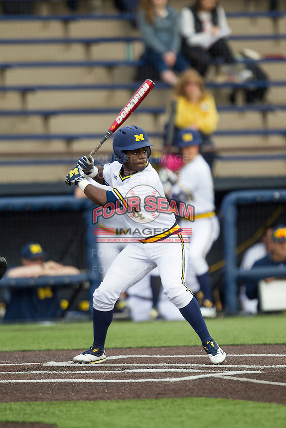 Michigan Wolverines second baseman Ako Thomas (4) at bat against the Toledo Rockets on April 20, 2016 at Ray Fisher Stadium in Ann Arbor, Michigan. Michigan defeated Bowling Green 2-1. (Andrew Woolley/Four Seam Images)