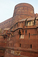 Agra, India.  Agra Fort, Tower and Outer Wall.