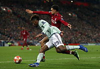 Bayern Munich's Kingsley Coman looks to run past Liverpool's Trent Alexander-Arnold<br /> <br /> Photographer Rich Linley/CameraSport<br /> <br /> UEFA Champions League Round of 16 First Leg - Liverpool and Bayern Munich - Tuesday 19th February 2019 - Anfield - Liverpool<br />  <br /> World Copyright © 2018 CameraSport. All rights reserved. 43 Linden Ave. Countesthorpe. Leicester. England. LE8 5PG - Tel: +44 (0) 116 277 4147 - admin@camerasport.com - www.camerasport.com