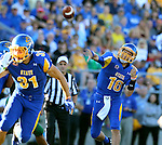 BROOKINGS, SD - SEPTEMBER 6: Quarterback Zach Lujan #16 from South Dakota State University throws a pass against Cal Poly in the first half of their game Saturday evening at Coughlin Alumni Stadium in Brookings.(Photo/Dave Eggen/Inertia)
