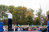 United States President Barack Obama waves to the crowd as he delivers remarks during a campaign event at George Mason University in Fairfax, Virginia on Friday, October 19, 2012..Credit: Kristoffer Tripplaar  / Pool via CNP