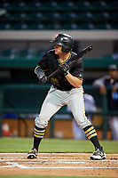Bradenton Marauders left fielder Casey Hughston (27) squares around to bunt during the second game of a doubleheader against the Lakeland Flying Tigers on April 11, 2018 at Publix Field at Joker Marchant Stadium in Lakeland, Florida.  Bradenton defeated Lakeland 1-0.  (Mike Janes/Four Seam Images)
